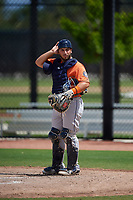 Houston Astros catcher Scott Manea (95) during a Minor League Spring Training Intrasquad game on March 28, 2019 at the FITTEAM Ballpark of the Palm Beaches in West Palm Beach, Florida.  (Mike Janes/Four Seam Images)