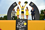 Christopher Froome (GBR) Team Sky wins his 4th Tour de France at the end of Stage 21 of the 104th edition of the Tour de France 2017, an individual time trial running 1.3km from Montgeron to Paris Champs-Elysees, France. 23rd July 2017.<br /> Picture: ASO/Pauline Ballet | Cyclefile<br /> <br /> <br /> All photos usage must carry mandatory copyright credit (&copy; Cyclefile | ASO/Pauline Ballet)