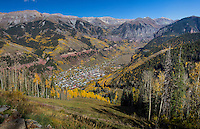 The mountain resort town of Telluride Colorado in the fall, as seen from the top of the ski slopes.