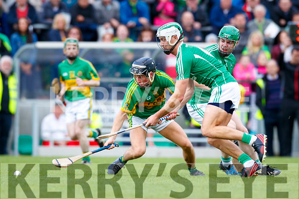 Paud Costello Ballyduff in action against Jason Wallace Lixnaw in the Senior County Hurling Final in Austin Stack Park on Sunday