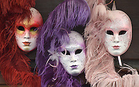 Michael McCollum.6/10/11.Masks in a shop, near the grand canal, in Venice, Italy.