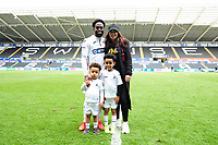 Nathan Dyer of Swansea City at full time with his family during the Sky Bet Championship match between Swansea City and Hull City at the Liberty Stadium in Swansea, Wales, UK. Saturday 27 April 2019