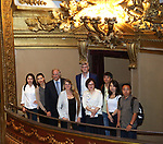Xwujiao Bai, Zhenzhu Ma, Stewart F. Lane, Bonnie Comley, Austin Shaw, Yanping Ma, Wen Chen, Qianda Rao and Zhiyong Liu during the Central Academy of Drama: Professors tour The Palace Theatre on September 25, 2017 at the The Palace Theatre in New York City.