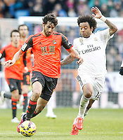 Real Madrid's Marcelo Vieira (r) and Real Sociedad's Esteban Granero during La Liga match.January 31,2015. (ALTERPHOTOS/Acero) /NortePhoto<br />