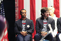 USA Team Players Tiger Woods and Bubba Watson on stage at the Closing Ceremony after Sunday's Singles Matches of the 39th Ryder Cup at Medinah Country Club, Chicago, Illinois 30th September 2012 (Photo Colum Watts/www.golffile.ie)