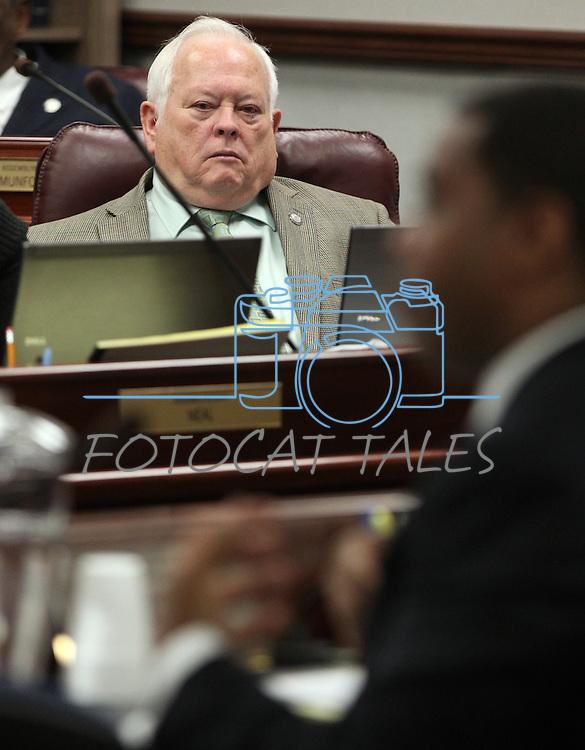 Nevada Assemblyman Pete Livermore, R-Carson City, listens to Senate Majority Leader Steven Horsford, D-North Las Vegas, on Thursday, April 28, 2011, at the Legislature in Carson City, Nev. .Photo by Cathleen Allison