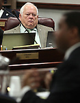 Nevada Assemblyman Pete Livermore, R-Carson City, listens to Senate Majority Leader Steven Horsford, D-North Las Vegas, on Thursday, April 28, 2011, at the Legislature in Carson City, Nev. .Photo by Cathleen Allison
