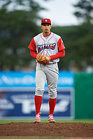 Williamsport Crosscutters relief pitcher Francisco Morales (48) looks in for the sign during a game against the Batavia Muckdogs on June 22, 2018 at Dwyer Stadium in Batavia, New York.  Williamsport defeated Batavia 9-7.  (Mike Janes/Four Seam Images)