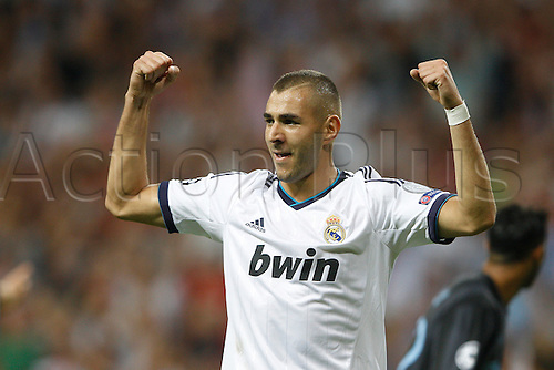 18.09.2012. Madrid. Spain.  Champions League   match played between Real Madrid CF vs  Manchester City at Santiago Bernabeu stadium. The picture show Karim Benzema (French Forward of Real Madrid) Real Madrid rallied to win the game 3-2.