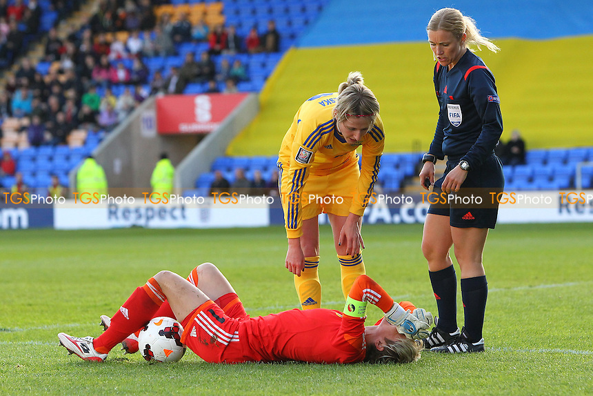 Injury concern for Iryna Zvarych of Ukraine - England Women vs Ukraine Women - FIFA Womens World Cup 2015 Qualifying Group 6 Football at New Meadow, Shrewsbury Town FC, Shropshire - 08/05/14 - MANDATORY CREDIT: Gavin Ellis/TGSPHOTO - Self billing applies where appropriate - 0845 094 6026 - contact@tgsphoto.co.uk - NO UNPAID USE