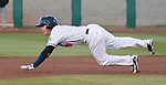 Reno Aces Jake Elmore attempts to steal second in their game against the Colorado Springs Sky Sox on Friday night, April 6, 2012 in Reno, Nevada.