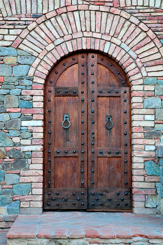 Outside door of castle. Castello di Amerorosa. Napa Valley, California. Property relased