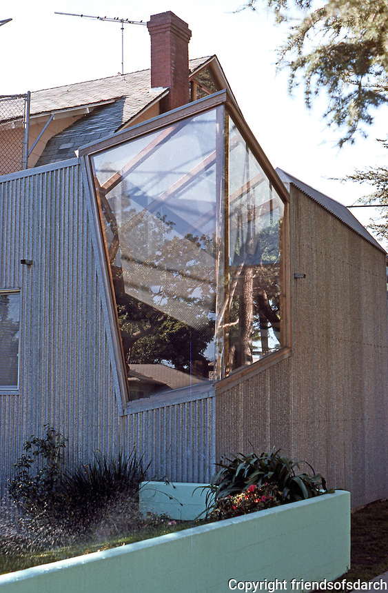 Frank  Gehry: Gehry House, detail. Dutch Colonial vestiges & Gehry additions.  Photo '86.