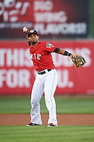 Erie SeaWolves shortstop Gustavo Nunez (12) throws to first during a game against the Richmond Flying Squirrels on August 22, 2016 at Jerry Uht Park in Erie, Pennsylvania.  Erie defeated Richmond 4-2.  (Mike Janes/Four Seam Images)