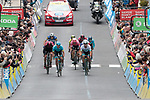 Jakob Fuglsang (DEN) and Aleksey Lutsenko (KAZ) Astana Pro Team lead the big favourites group with Chris Froome (GBR) Team Ineos, Thibaut Pinot (FRA) Groupama-FDJ, Michael Woods (CAN) EF, Nairo Quintana (COL) Movistar and Adam Yates (GBR) Mitchelton-Scott to the finish line at the end of Stage 2 of the Criterium du Dauphine 2019, running 180km from Mauriac to Craponne-sur-Arzon, France. 9th June 2019<br /> Picture: Colin Flockton | Cyclefile<br /> All photos usage must carry mandatory copyright credit (© Cyclefile | Colin Flockton)