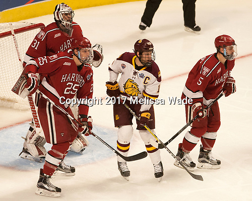Wiley Sherman (Harvard - 25), Merrick Madsen (Harvard - 31), Dominic Toninato (UMD - 19) - The University of Minnesota Duluth Bulldogs defeated the Harvard University Crimson 2-1 in their Frozen Four semi-final on April 6, 2017, at the United Center in Chicago, Illinois.