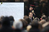 EMMANUEL MACRON (PRESIDENT) - CEREMONIE D'HOMMAGE AUX VICTIMES DE L'ATTENTAT DU BATACLAN A PARIS, FRANCE, LE 13/11/2017.