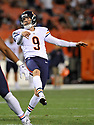 CLEVELAND, OH - SEPTEMBER 1, 2016: Kicker Robbie Gould #9 of the Chicago Bears kicks an extra point in the third quarter of a game on September 1, 2016 against the Cleveland Browns at FirstEnergy Stadium in Cleveland, Ohio. Chicago won 21-7. (Photo by: 2016 Nick Cammett/Diamond Images)  *** Local Caption *** Robbie Gould