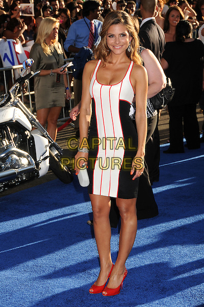 "Maria Menounos.Premiere of ""Captain America: The First Avenger"" held at The El Capitan Theatre in Hollywood, California, USA..July 19th, 2011.full length white red black dress striped stripes shoes clutch bag peep toe sleeveless .CAP/ADM/BP.©Byron Purvis/AdMedia/Capital Pictures."