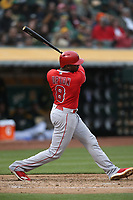 OAKLAND, CA - JUNE 15:  Justin Upton #8 of the Los Angeles Angels of Anaheim bats against the Oakland Athletics during the game at the Oakland Coliseum on Friday, June 15, 2018 in Oakland, California. (Photo by Brad Mangin)