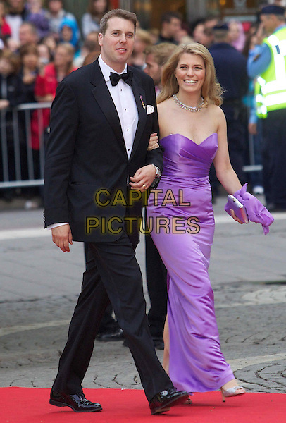 PRINCE HUBERTUS of Hohenlohe-Langenburg & PRINCESS KELLY .Gala Evening to celebrate the wedding of Swedish Crown Princess Victoria and Daniel Westling, Concert Halls, Stockholm, Sweden,.18th June 2010..royal full length strapless purple long maxi dress  black tuxedo tux .CAP/PPG/WS.©Willi Schneider/People Picture/Capital Pictures