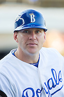 Burlington Royals coach Scott Thorman (16) prior to the game against the Princeton Rays at Burlington Athletic Park on July 11, 2014 in Burlington, North Carolina.  The Rays defeated the Royals 5-3.  (Brian Westerholt/Four Seam Images)