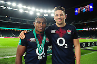 Semesa Rokoduguni and Charlie Ewels of England pose for a photo after the match. Old Mutual Wealth Series International match between England and Fiji on November 19, 2016 at Twickenham Stadium in London, England. Photo by: Patrick Khachfe / Onside Images