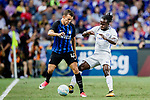 FC Internazionale Forward Ivan Perisic (L) fights for the ball with Chelsea Midfielder Victor Moses (R) during the International Champions Cup 2017 match between FC Internazionale and Chelsea FC on July 29, 2017 in Singapore. Photo by Marcio Rodrigo Machado / Power Sport Images