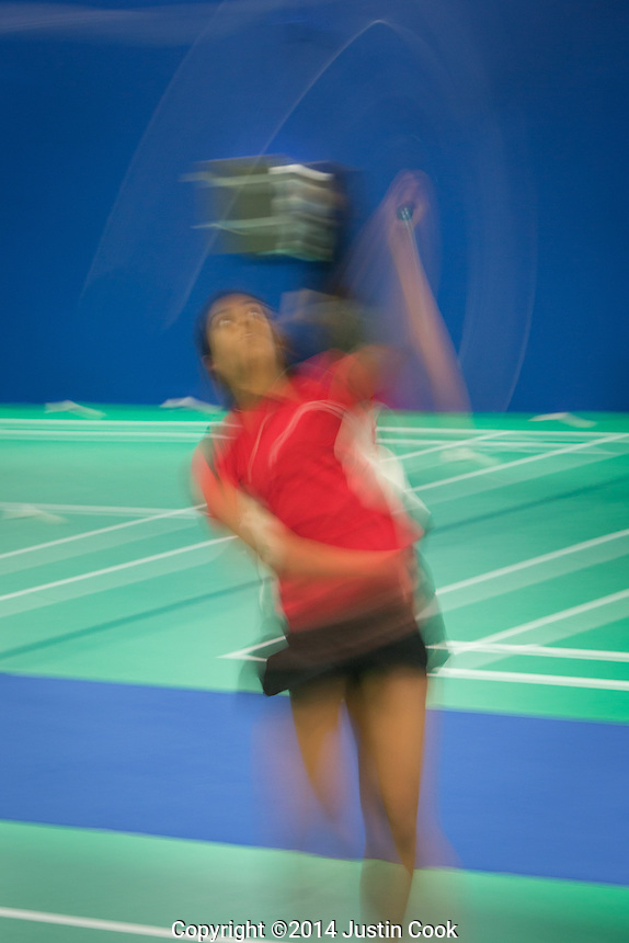 Soumya Gade, 15, a talented local badminton player, has Olympic dreams. Portrait at the Badminton NC club in Morrisville, North Carolina on Saturday, November 22, 2014. (Justin Cook)
