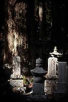 L'Okuno-in (????), un immense cimetière avec près de 200 000 pierres tombales de samouraïs, de personnalités et de gens ordinaires, sous une forêt de cèdres centenaires. Au c?ur du cimetière se trouve le T?r?-d?, le temple des lanternes. On pense que 2 flammes y ont brûlé sans interruption depuis un millier d'années. À proximité du T?r?-d? se trouve le Gobyo, le mausolée de K?kai, devant lequel viennent se recueillir de nombreux fidèles.Le mont K?ya (???, K?ya-san?) est une montagne de la préfecture de Wakayama, au Sud d'?saka qui a donné son nom à un complexe de 117 temples bouddhiques., Asia, Asie, Japon, Japan Le bonze K?kai (??) a installé la première communauté religieuse sur ce mont, qui allait devenir le principal centre du bouddhisme Shingon. Situé sur un plateau à 800 m d'altitude entouré de huit sommets, le premier monastère s'est développé pour devenir une ville, K?ya, possédant une université d'études religieuses et plus de cent temples offrant l'hospitalité aux nombreux pèlerins et touristes.