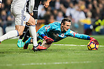 Goalkeeper Przemyslaw Tyton of RC Deportivo La Coruna in action during the La Liga match between Real Madrid and RC Deportivo La Coruna at the Santiago Bernabeu Stadium on 10 December 2016 in Madrid, Spain. Photo by Diego Gonzalez Souto / Power Sport Images