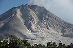 Sinabung Volcano with andesitic lava dome at summit, Indonesia