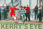 Paclo Martin Killarney celtic takes on the Regional defense during the FAI cup on Saturday in Killarney