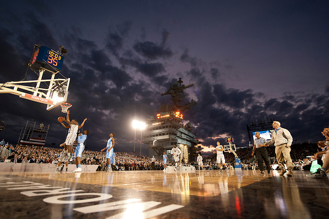 SAN DIEGO, CA - NOVEMBER 11, 2011: The Michigan State Spartans and the North Carolina Tar Heels in action during the 2011 Quicken Loans Carrier Classic on the USS Carl Vinson..(Photo by Robert Beck / ESPN)..- RAW FILE AVAILABLE -.- CMI000165191.jpg -