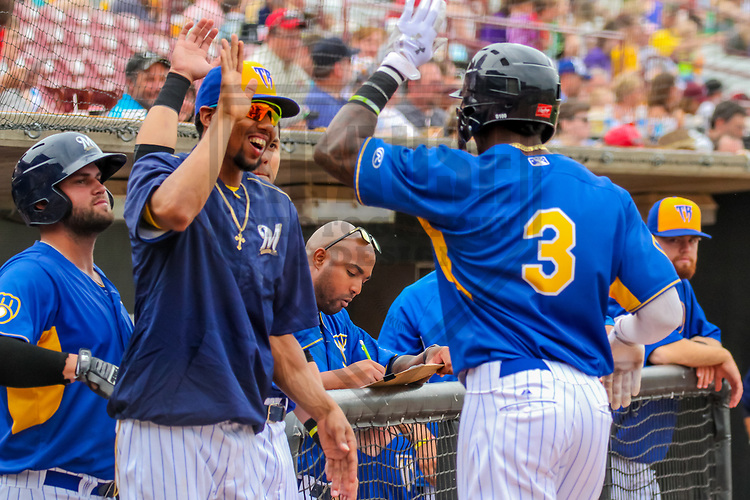 Wisconsin Timber Rattlers third baseman Jose Cuas (1) congratulates outfielder Monte Harrison (3) following a home run during a Midwest League game against the Kane County Cougars on June 11, 2017 at Fox Cities Stadium in Appleton, Wisconsin.  Kane County defeated Wisconsin 6-4. (Brad Krause/Krause Sports Photography)