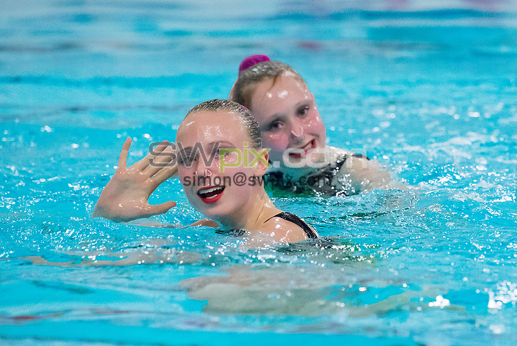 Picture by Allan McKenzie/SWpix.com - 25/11/2017 - Swimming - Swim England Synchronised Swimming National Age Group Championships 2017 - GL1 Leisure Centre, Gloucester, England - Madeleine Staples & Rebecca Saunders.