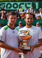 14-07-13, Netherlands, Scheveningen,  Mets, Tennis, Sport1 Open, day seven final, Antal van der Duim(l) and Boy Westerhof winning the doubles<br /> <br /> <br /> Photo: Henk Koster