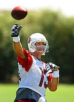 Jun 9, 2008; Tempe, AZ, USA; Arizona Cardinals quarterback Kurt Warner passes the ball during mini camp at the Cardinals practice facility. Mandatory Credit: Mark J. Rebilas-