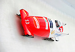 17 December 2010:  Fabienne Meyer pilots her 2-man bobsled for Switzerland, finishing 6th for the day at the Viessmann FIBT World Cup Bobsled Championships in Lake Placid, New York, USA. The event was a Make-up Race from the previous week at Park City where the Women's Bobsled had to be cancelled due to severe snow conditions. Mandatory Credit: Ed Wolfstein Photo