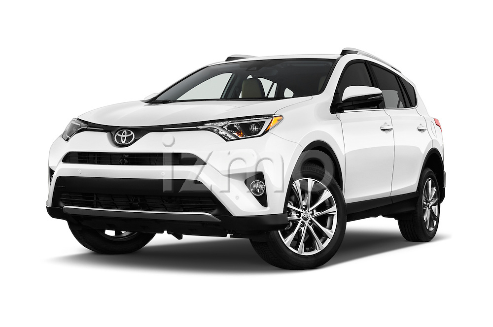 Stock pictures of low aggressive front three quarter view of 2016 Toyota RAV4 Limited 4x4 Door Suv Low Aggressive