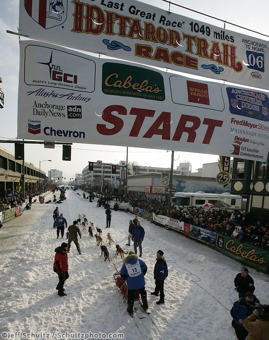Kim Kittredge leaves the Anchorage start line on 4th avenue during the start of the Iditarod.