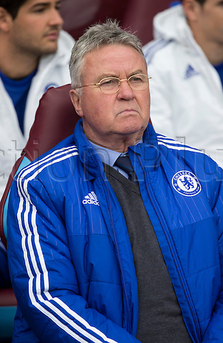 02.04.2016. Villa Park, Birmingham, England. Barclays Premier League. Aston Villa versus Chelsea.  Chelsea Manager Guus Hiddink looks on to the pitch just before the match starts.