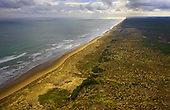Aerial view looking northwest along Ninety Mile Beach. Far North, Northland, New Zealand.