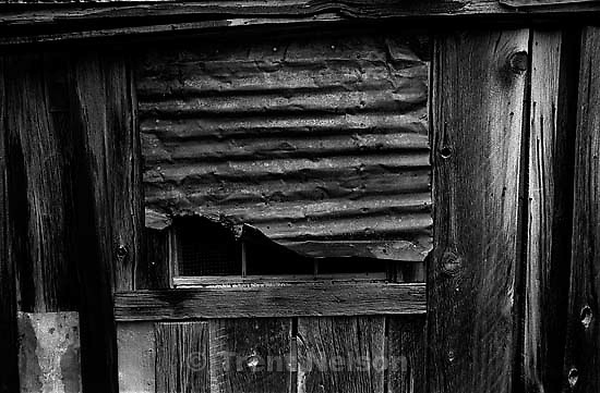 Tin over window at Bodie State Historic Park, ghost town<br />