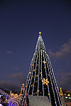 Israel, Lower Galilee, Christmas in Nazareth in front of St. Gabriel Church