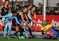 Madison Doar (L) Kelsey Smith attack the goal during the international hockey match between the Blacksticks Women and India, Rosa Birch Park, Pukekohe, New Zealand. Sunday 14  May 2017. Photo:Simon Watts / www.bwmedia.co.nz