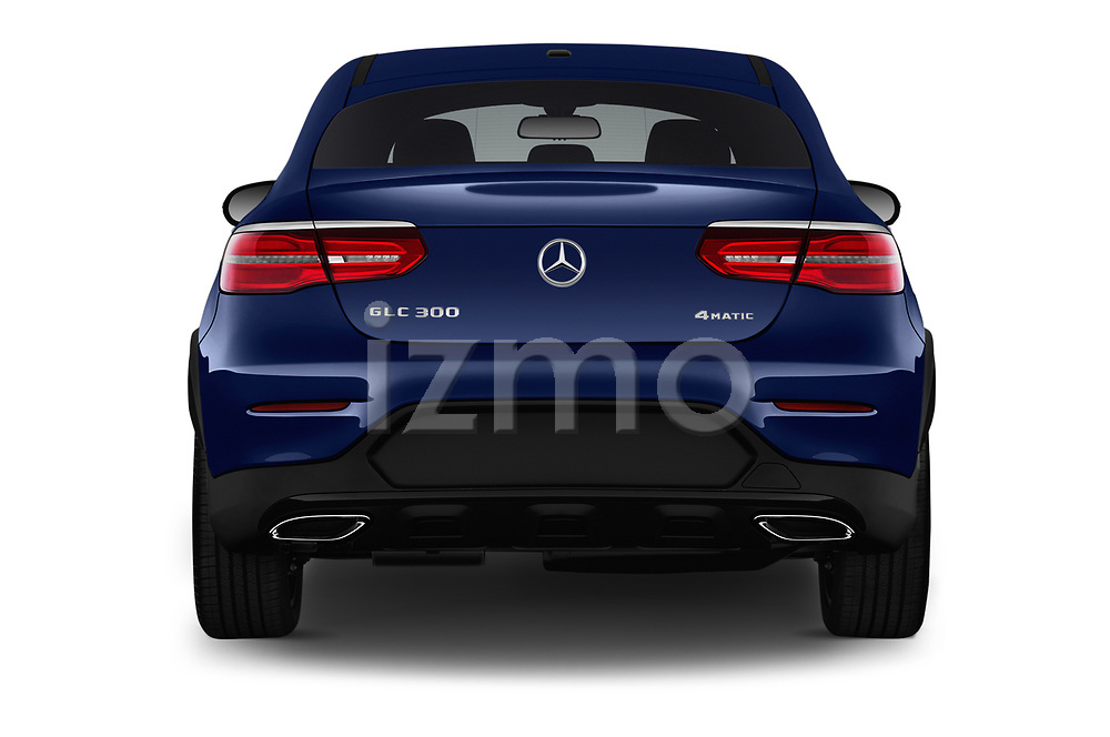 Straight rear view of a 2018 Mercedes Benz GLC Coupe GLC300 4WD 5 Door SUV stock images