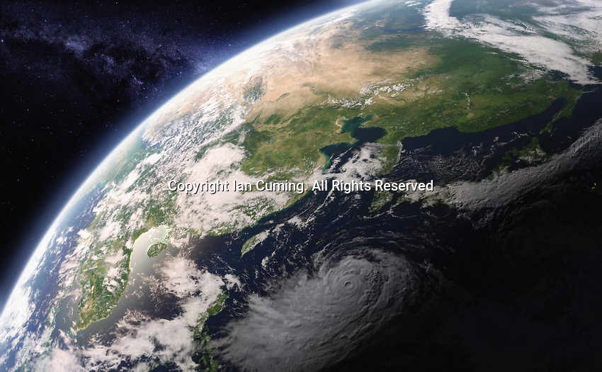 Digitally manipulated image from space of the East China Sea and the South China Sea