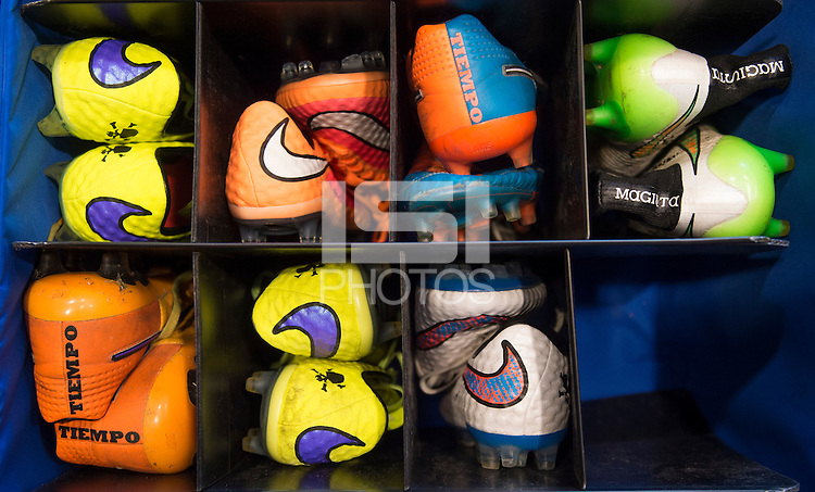 Harrison, NJ- May 26, 2015: USWNT Nike shoes sit in their storage bins.