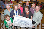 Members of the Kerry Hospice receive a cheque last Friday night from special fundraising efforts by the the Ballyduff Community, pictured l-r: Ann Cambell, Irwell Jones, Ted Moynihan(Kerry Hospice), Kay Enright, Josephine Kennelly, Tom Joe O'Carroll, Gabriel Browne and Conor Cusack(Kerry Hospice).